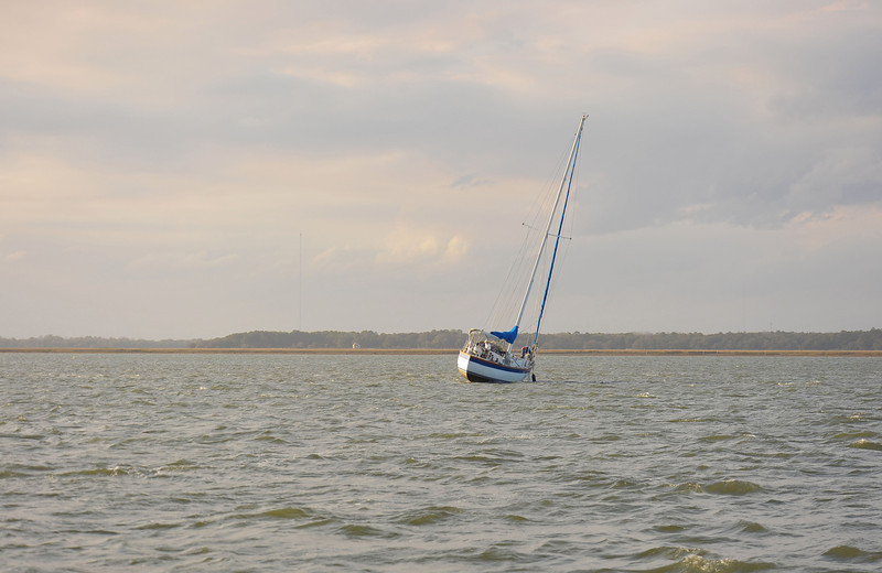 Aground in South Altamaha River near Brunswick, Georgia near the Intracoastal Waterway (ICW) 01-26-12