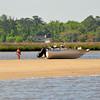 Aground -  Outboard boat on sandbar - Ungrounding by TowBoatUS Brunswick. 04-25-09