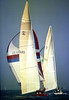 AUSTRALIA 2 leading LIBERTY in the 1983 America's Cup