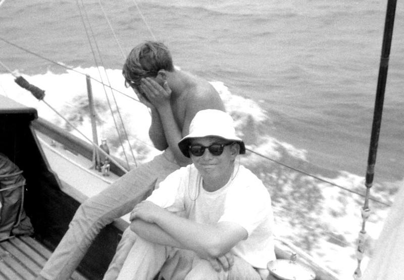 Doug Peterson, aged 18, on STORMVOGEL in the 1965 Transpac