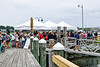 East Ferry Wharf, Newport Jamestown Ferry,  passengers waiting to go to the Folk Festival at Conanicut Marine