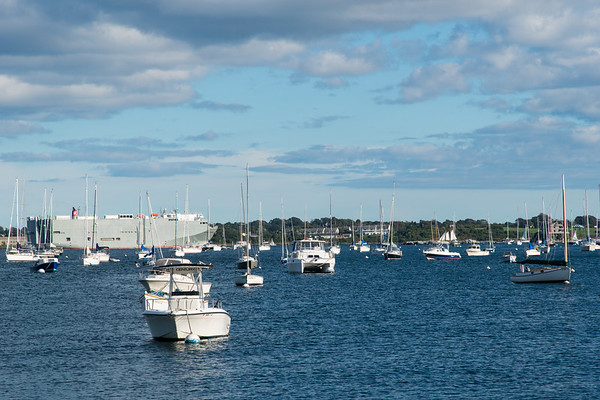 Car carrier leaving the East Passage of Narragansett Bay, viewed from the marina at Conanicut Marine, Jamestown, R.I.