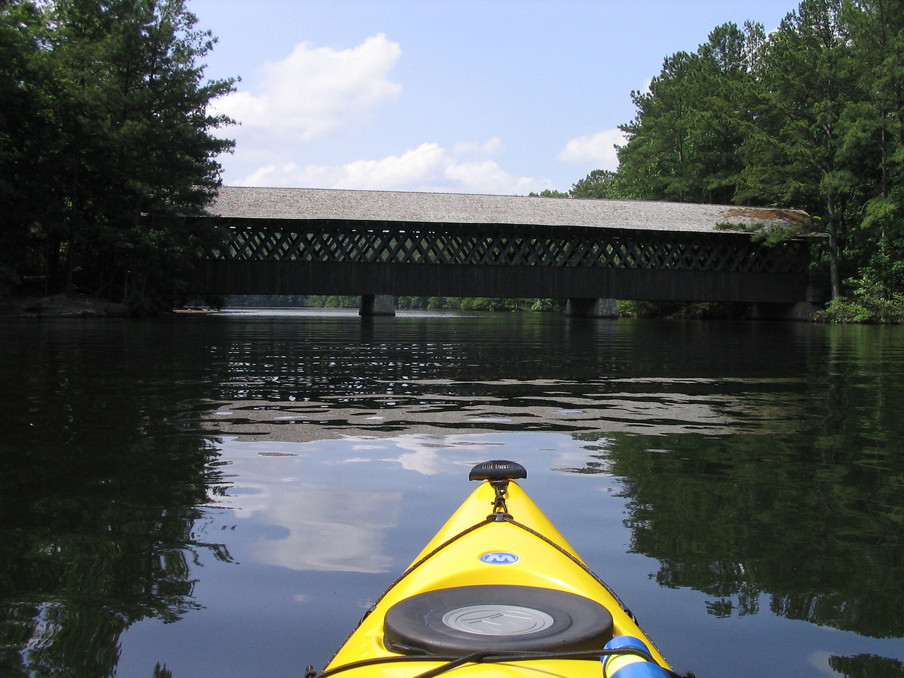 Stone Mountain covered bridge and my kayak