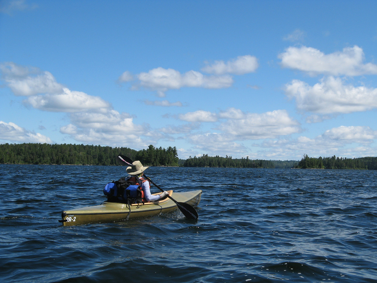 Starting out in some windy water in the Boundary Waters. I am following my guide Dominic and his dog in some Rob Roy's from Paragis Outfitters in Ely, MN.