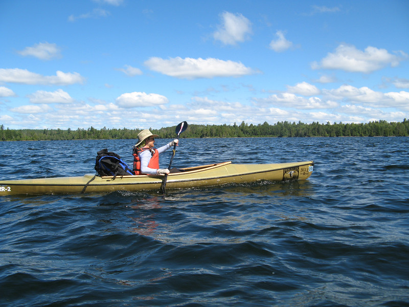 In the Boundary Waters above Ely, MN.<br /> My new paddle.