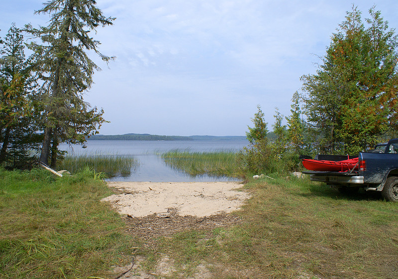 After a 20 minute drive on one mile of really rough road, I was presented with this view of the 'boat launch' on the west end of Gullwing Lake.