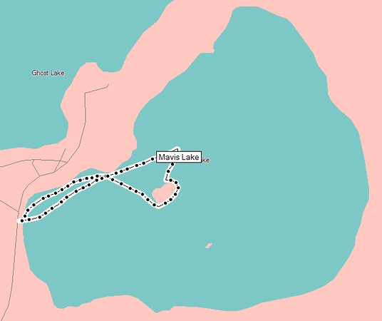"""<TD vAlign=top noWrap align=right bgColor=lightblue><FONT face=""""Verdana, Arial, Helvetica"""" color=#4F94CD size=3>Mavis Lake - June 23, 2007</FONT></TD>  Mavis Lake can be reached by taking Thunder Lake Road. About 2/3rds the way to Johnson's Beach, is where you will find the unmarked gravel road to Mavis Lake.  I drove almost all the way down the road until I found a spot to put in the boat that was right beside the road (about a 20 foot walk). Knowing the lake was fairly small, I didn't think I would be on it to long.  As it turns out, I only spent about 25 minutes on the lake, traveling 1.4 miles. I didn't like being on the lake at all. First off, I can't see into the water - something that I really hate.   And more importantly: there was no one else on the lake. No one swimming, no one fishing, no one living on the lake even.   I was concerned that if I was to ever get into trouble on that lake, I would be so hooped because there wouldn't be anyone to hear my distress calls.  You can see how close Ghost Lake in relation to Mavis Lake. With that being said, I'd much rather go on Ghost Lake or Thunder Lake. Also, there really wasn't much as far as scenery goes.  <A HREF=""""#top""""><TD vAlign=top noWrap align=right bgColor=lightblue><FONT face=""""Verdana, Arial, Helvetica"""" color=#4F94CD size=1>Top</FONT></TD></A>"""