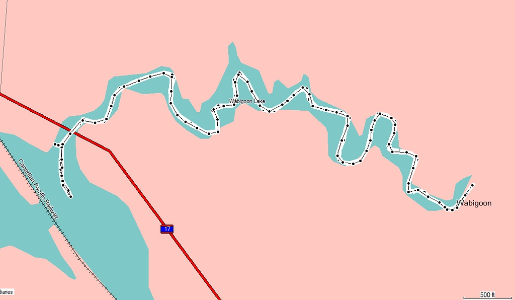 """<TD vAlign=top noWrap align=right bgColor=lightblue><FONT face=""""Verdana, Arial, Helvetica"""" color=#4F94CD size=3>Nugget Creek - September 12, 2008</FONT></TD>  This is the map of my hour long paddle on Nugget Creek (Wabigoon, Ontario). I didn't know it just ended the way it did, and I didn't realize how many twists and turns it had. This map does not due the twist and turns justice."""