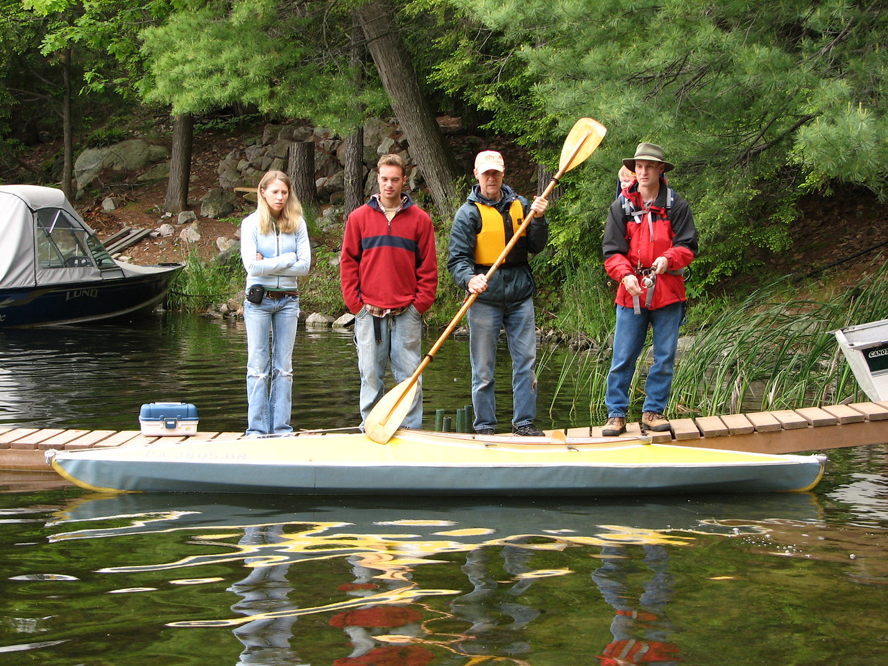 Ashley and Matt, the couple, Leon the paddler, and Austin and Hans the anglers.