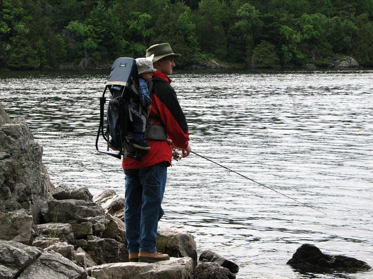 Hans and son, Austin enjoy a good fishing spot.