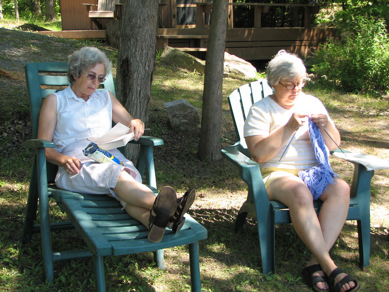 Carol and Elaine enjoy reading and knitting.