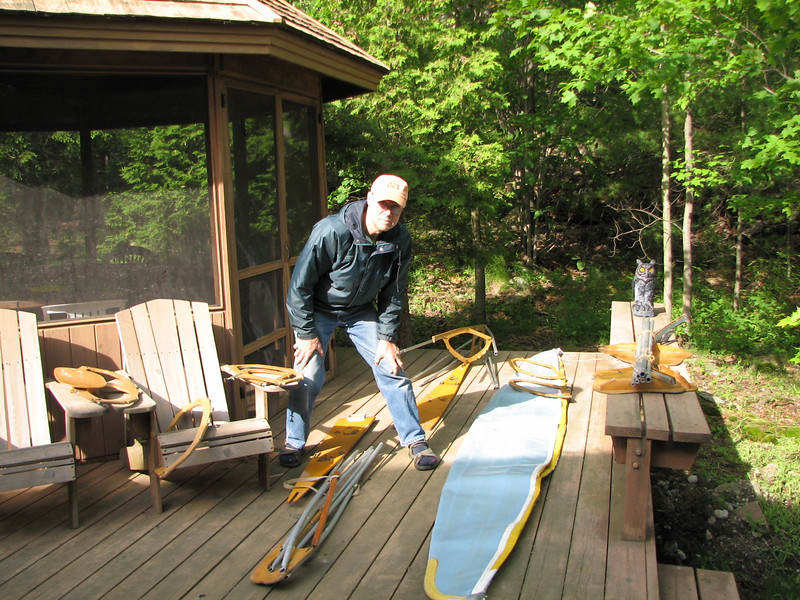 Leon lays out his Folbot kayak for set-up.