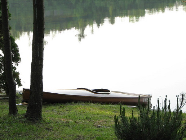 My cedar strip kayak on the beach.