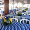 Sit down table seating aboard the Lady of the Lake.
