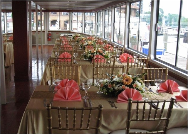 Wedding seating aboard the Lady of the Lake.