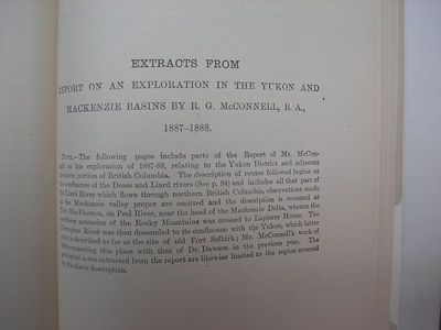 Extract of McConnell's Journal in Dawson's Report 1887