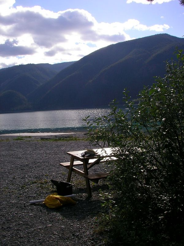 Best campsite of the trip.  Northern Rockies Lodge at Muncho Lake