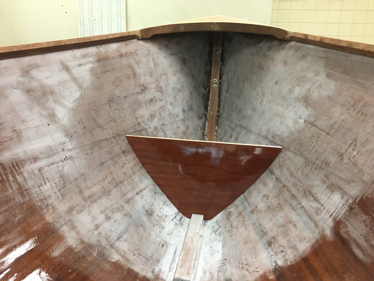 The Bow Seat Bulkhead after Stain and Epoxy
