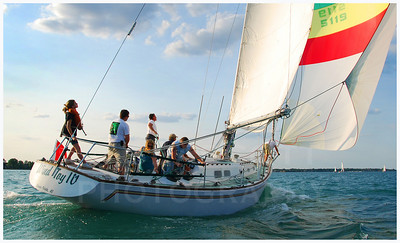 Wind Toy IV sets sail on Lake St. Clair, Michigan.