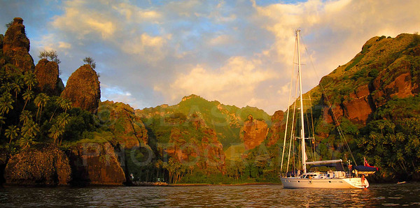 The Oyster 62 Carpe Diem anchored in the spectacular bay of Hanavave on Fatu Hiva,  Marquesas islands, French Polynesia.