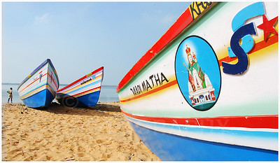 Boats of Catholic fishermen, Malabar Coast, India.