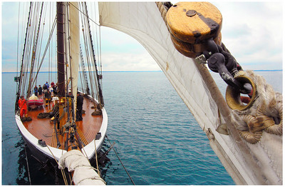 The 154' topsail schooner Highlander Sea nearly becalmed on Lake Huron.