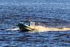 Boat taxi coming to Moosonee.