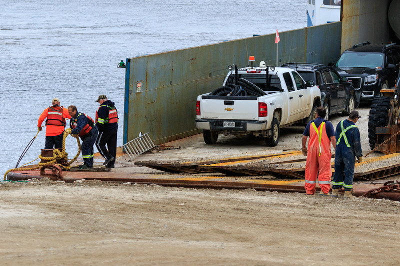 Tug Nelson River and its barge return to Moosonee from delivering fuel up the James Bay coast.