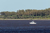 Ontario Provincial Police boat returning to dock with paddle canoeists and their canoe.