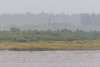 Looking across to Moose Factory Island in the rain from Moosonee.