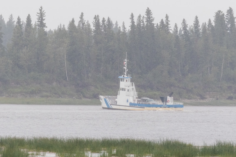 Barge Niska I turning to enter the channel leading to Moose Factory.