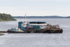 Tug Nelson River and its barge ready to head north from Moosonee.