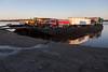 Barge on the Moose River at Moosonee in Northern Ontario.