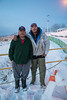 Two generations of boat taxi drivers: Mike Blueboy and his son Darren Blueboy at public docks site in Moosonee 2016 December 3rd befoe sunrise.