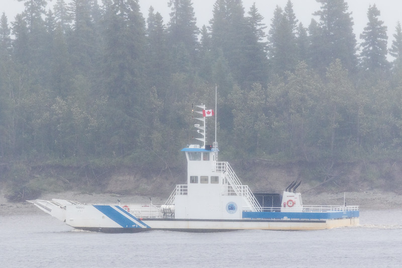 Barge Niska I in light drizzle in front of Butler Island.