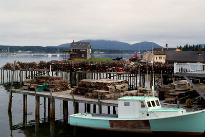 Lobster boat at dock, coastal Maine, c.1987