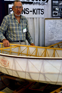 Platt Montfort, beside one of his Geodesic AiroLITE designs. Wooden Boat Show, Newport, Rhode Island, c.87