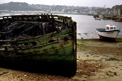 Abandoned wooden boat. Camaret, France. 1983.