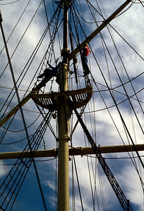 Man in the rigging. Mystic Seaport, Connecticut. July, 1987.