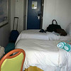 Balcony cabin 9026 on the NCL Sky.....tight walk between the beds and walls