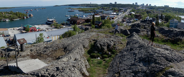 Looking back at Yellowknife from the old town