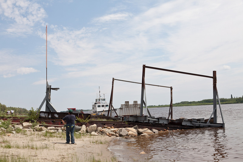 Marine railway used to put tug Nelson River going into the water at Moosonee for the 2010 shipping season 2010 June 22nd.
