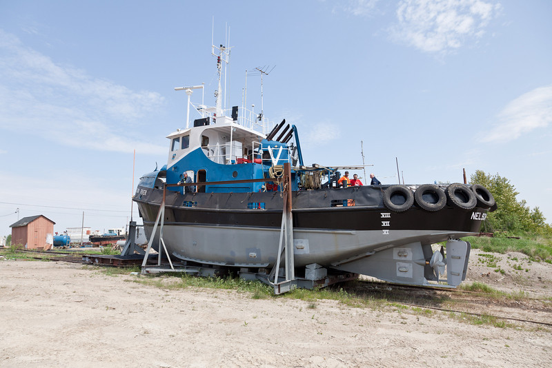 Tug Nelson River going into the water at Moosonee for the 2010 shipping season 2010 June 22nd.