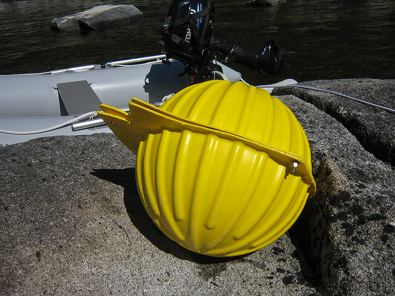 """PS_2519  Sputnik.  Or at least that is what we named it.  In reality it is a 17 inch diameter glass sphere used as flotation for deep sea research.  The yellow """"hardhats"""" are just to protect the glass sphere.  The sphere is """"evacuated"""" to an interior pressure of less than .3 atmospheres."""