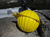 "PS_2519  Sputnik.  Or at least that is what we named it.  In reality it is a 17 inch diameter glass sphere used as flotation for deep sea research.  The yellow ""hardhats"" are just to protect the glass sphere.  The sphere is ""evacuated"" to an interior pressure of less than .3 atmospheres."