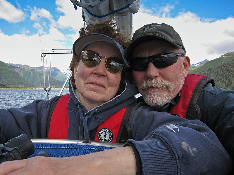 PS_2615  The smiling crew as we leave Beauty Bay….just before the alternator burned up and we were hit with gusts of 40 to 50 knots, dragging anchor and nearly being driven aground.