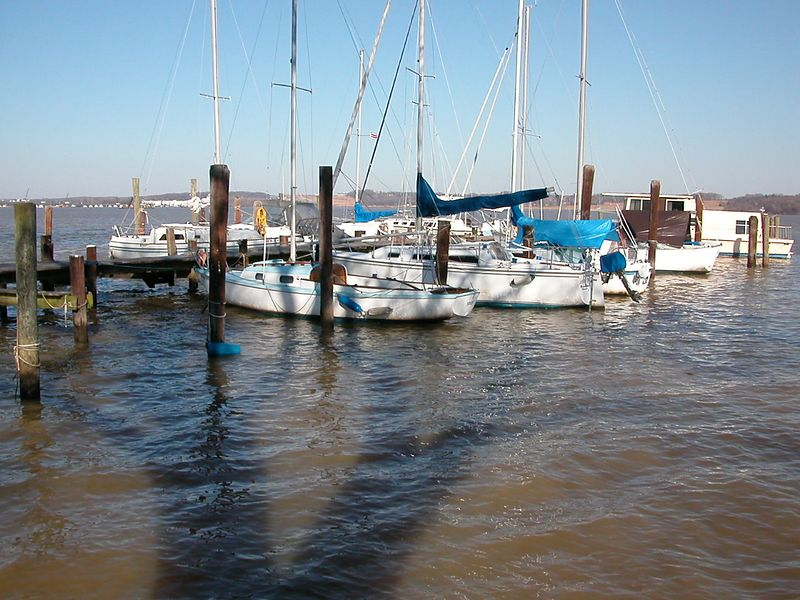 Ahh, the Bell Haven Marina and home to Gary's boat.<br /> 9 Mar 2003