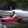 Linda and Richard in the eddy at the put in, getting ready to head downstream