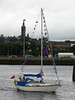 Yacht entering Princes Dock.