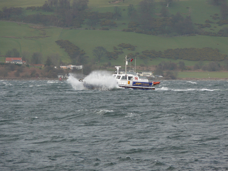 ISLAND FOX battling the waves off Gourock.<br /> 8th March 2008